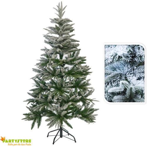 albero di natale  150 cm innevato artificiale folto pino con neve realistico
