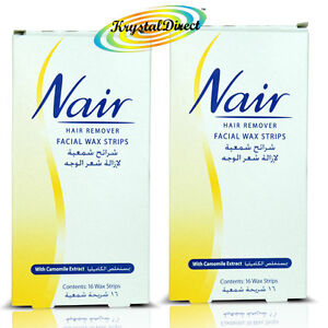 2 x Nair 16 WAX STRIPS Waxing Facial Hair Removal  Camomile