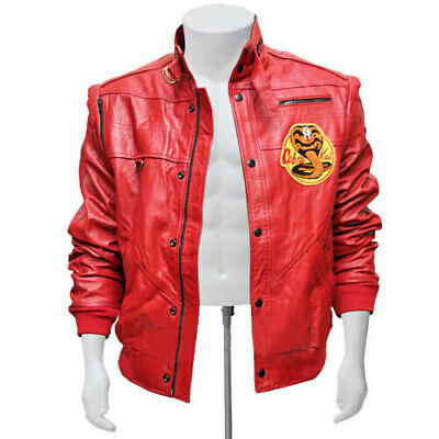 Men Cobra Kai The Karate Kid Johnny Lawrence Red Real Sheep Leather Jacket