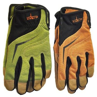 Two Pairs Habit Premium Leather Spandex Medium Work Gloves By Plainsman New