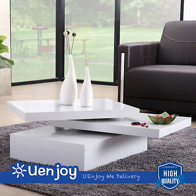 Waxen Square Coffee Table Rotating Contemporary Modern Living Room Furniture