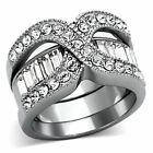 Stainless Steel CZ & Diamond Simulant Engagement Rings