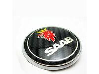 SAAB CARBON BONNET BOOT TRUNK PACK SET 2 BADGE EMBLEM 93 95 9-3 9-5 REPLACEMENT