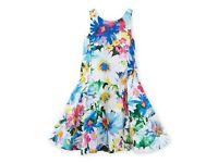 RALPH LAUREN Girls Floral Print 100% Cotton Sateen Summer Dress Sizes 5 or 6