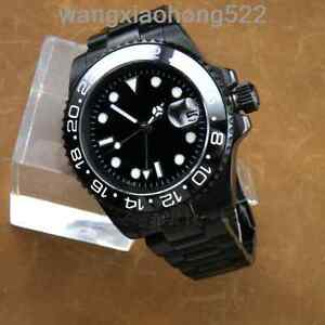40mm Parnis PVD GMT Black dial Sapphire Glass Ceramic Bezel Automatic Watch 063