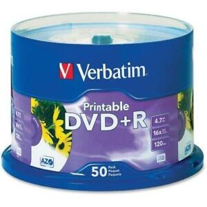 Verbatim DVD+R 4.7GB 16X White Inkjet Printable with Branded Hub - 50pk Spindle - 4.7GB - 50 Pack - TAA Compliance