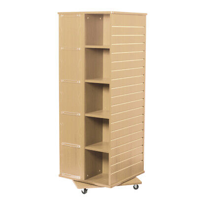 Revolving Cube Slatwall Display In Maple 23.5 W X 23.5 D X 63 H Inches