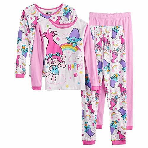 Trolls Poppy and Branch Rainbow Short-Sleeved 4-Piece Pajama Set, Size 3T