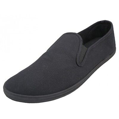 Mens Canvas Slip On Shoes Casual Classic Sneakers Flat Plimsoll Skater Slipon