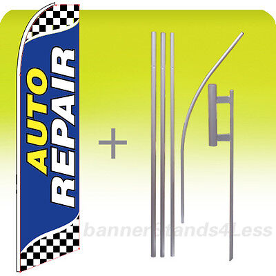 Auto Repair - Swooper Flag Kit Feather Flutter Banner Sign 15 Set Checkered Bb