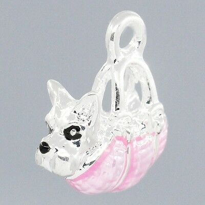 3D Puppy Dog in Pink Enamel Handbag Purse Silver Plated Traditional Charm -