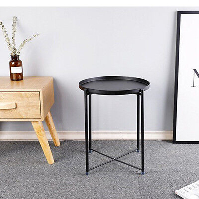 End Table Black Metal Small Round Side Chair Sofa Foldable TV Snack Coffee Tray ()