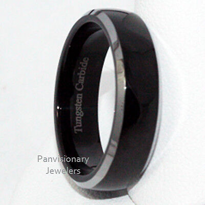 6 Mm Bevel Edge (6mm Tungsten Carbide Ring Black IP Polish Dome Natural Bevel Edge Wedding Band )