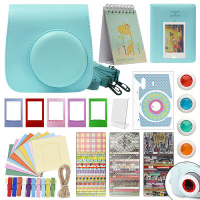 Deluxe Stylish Fun Accessory Kit for Fujifilm Instax Mini 9 Camera Ice Blue