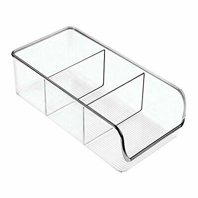 iDesign Storage Box with 3 Compartments, Medium Size Plastic Kitchen Organiser