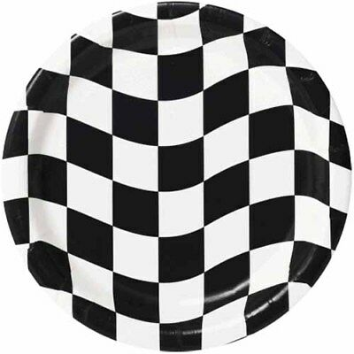 CHECKERED FLAG RACING LARGE PAPER PLATES (8) ~ Birthday Party Supplies Dinner (Checkered Paper)