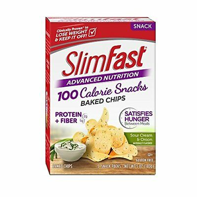Slim Fast Advanced Potato Crisps Snacks, Sour Cream and Onion,1 oz Bag (Pack of