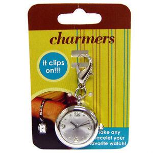 Round Quartz Watch Clip On Charm Charmers Silver Pendant