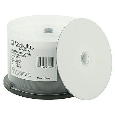 50 VERBATIM 16X Blank DVD-R 4.7GB DataLifePlus White Inkjet Hub Printable 95079