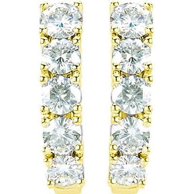 1.60 carat J Hoop Earrings Round Diamonds G color SI1 clarity 14k Yellow Gold