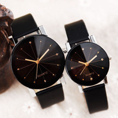 (Men Women Leather Strap Line Analog Quartz Ladies Wrist Watches Fashion Watch)