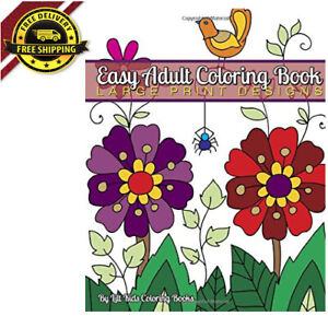 Easy Adult Coloring Book Large Print Designs Books Volume 98
