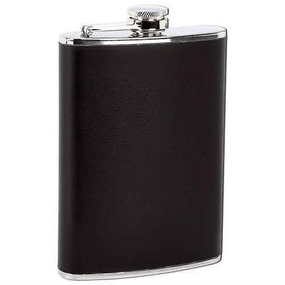 New BLACK 8oz Stainless Steel Flask Screw Cap Liquor Alcohol Hip Pocket Whiskey