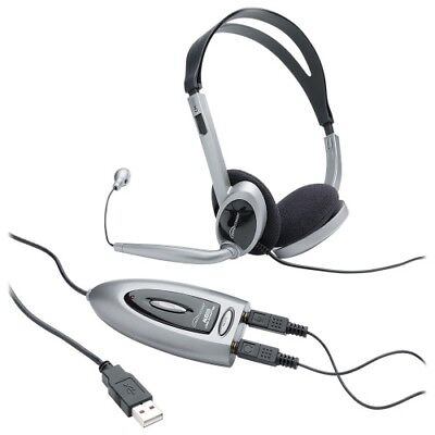Headset,w/USB Adapter,LED Indicator,3.5mm Jack,Black/Silver CCS55257