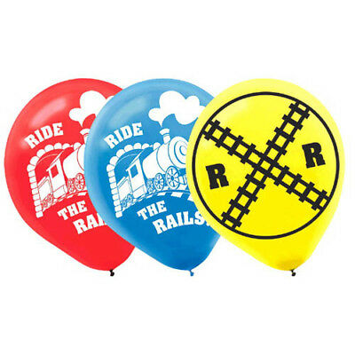 TRAINS Ride the Rails LATEX BALLOONS (6) ~ Birthday Party Supplies Helium Thomas