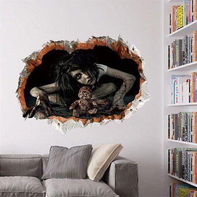 Halloween Decor 3D Ghost Wall Stickers Decal Detachable Horror - Halloween Ghosts Wallpaper