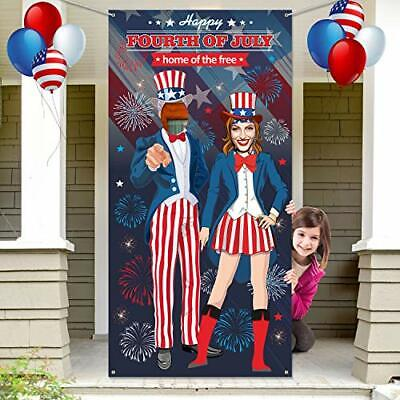 4th July Uncle Sam Photo Booth Backdrop Banner Prop, Patriotic Party Favors Game
