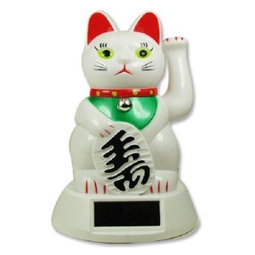 """WHITE Solar Powered FENG SHUI Gold Lucky Beckoning Waving Cat Maneki Neko 5""""tall"""