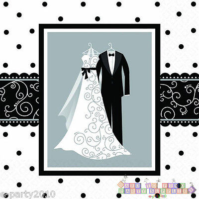 BLACK AND WHITE WEDDING LUNCH NAPKINS (16) ~ Bridal Party Supplies Dinner Large (Black Napkins)
