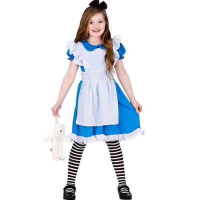 US STOCK! Childrens Girls Blue Storybook Alice in Wonderland Dress Costume k64