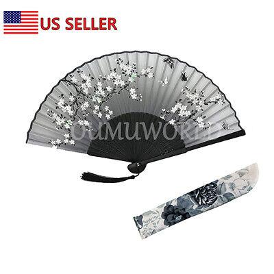 New Hand Fan Chinese Japanese Silk Elegant Modern Folding Fan Flower Butterfly