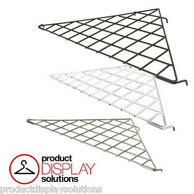 Box Of 5 Grid Gridwall Triangular Corner Shelf Black White Or Chrome