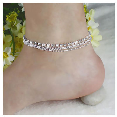 Girl Women 925 Silver Crystal Chain Anklet Bangle Cuff Charm Bracelet - Girls Charm Bracelet