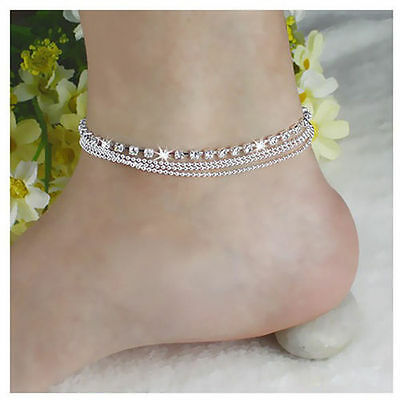 Girl Women 925 Silver Plated Crystal Chain Bangle Cuff Charm Bracelet Jewelry