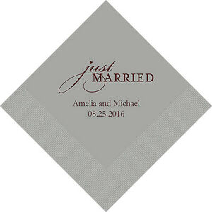 500 Just Married Personalized Wedding Cocktail Napkins