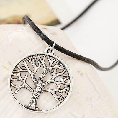 Tree Of Life Necklace Silver Tone With Black Leather Necklace Jewelry