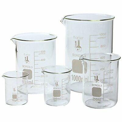 Laboratory 3.3 Borosilicate Glassware Science Lab Chemistry Beaker Set 5 Size