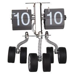 NEW! CONTEMPORARY RETRO FLIP CLOCK - DESK TIME CLOCK - 3 WHEELED MODERN CAR