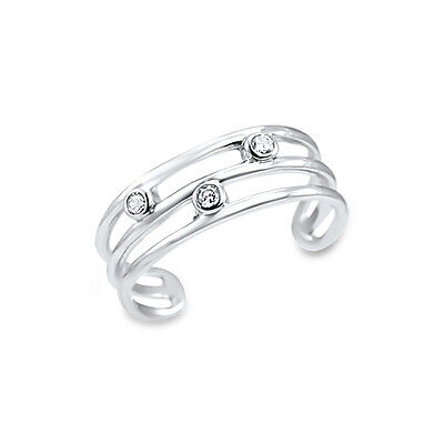 10KT Solid White Gold Adjustable 3 Band Toe Ring Clear Cubic Zirconia CZ stones Cubic Zirconia White Gold Toe Ring