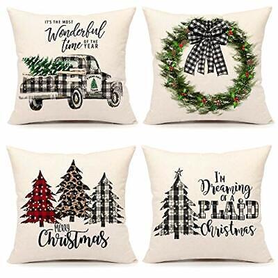 Farmhouse Christmas Throw Pillow Covers 20x20 inch Set of 4 Buffalo Check Plaid