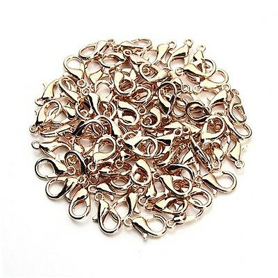 100pcs Rose gold DIY Jewelry Findings Lobster Trigger Claw Clasps Connector ()