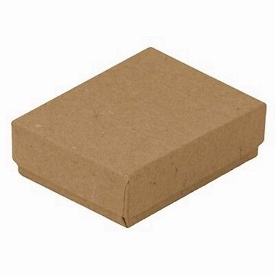 100 Kraft Brown Cotton Filled Jewelry Packaging Gift Boxes 3 14 X 2 14 X 1