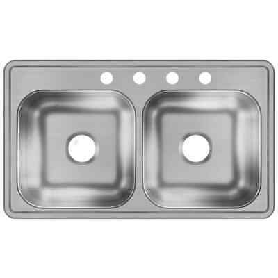 Drop In Sink 33 x 19 Stainless Steel Double-Basin Drop-in 4-Hole Kitchen Sink up Basin Drop In Kitchen Sink