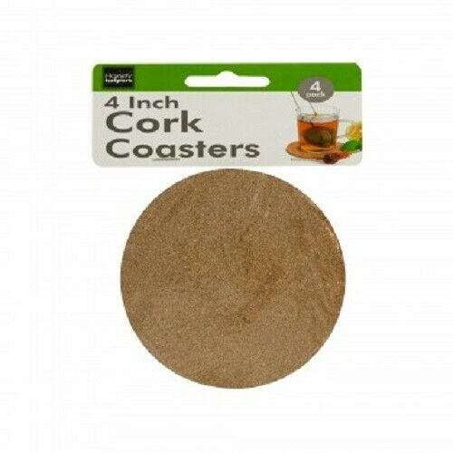 """4-pack 4"""" Round Cork Coasters For Beverages & Drinks"""