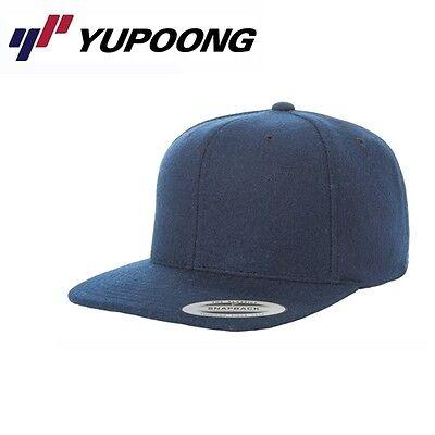 Navy Wool Cap (Yupoong Melton Wool Snapback Cap Navyblau )