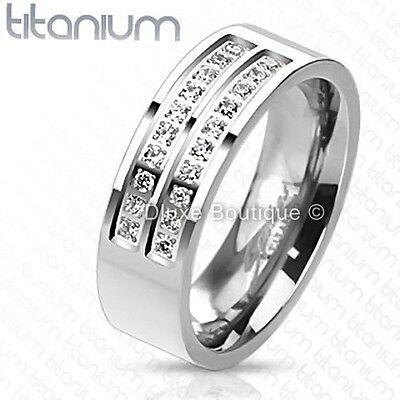 Men's 7mm Solid Titanium Simulated Diamond Comfort Fit Wedding Ring Band 7mm Comfort Fit Wedding Band